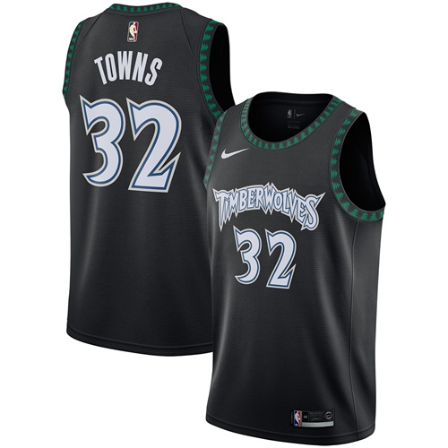 Nike Timberwolves #32 Karl-Anthony Towns Black NBA Swingman Hardwood Classics Jersey