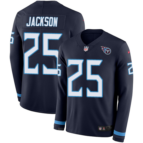 Nike Titans #25 Adoree' Jackson Navy Blue Team Color Men's Stitched NFL Limited Therma Long Sleeve Jersey