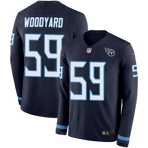 Nike Titans #59 Wesley Woodyard Navy Blue Team Color Men's Stitched NFL Limited Therma Long Sleeve Jersey