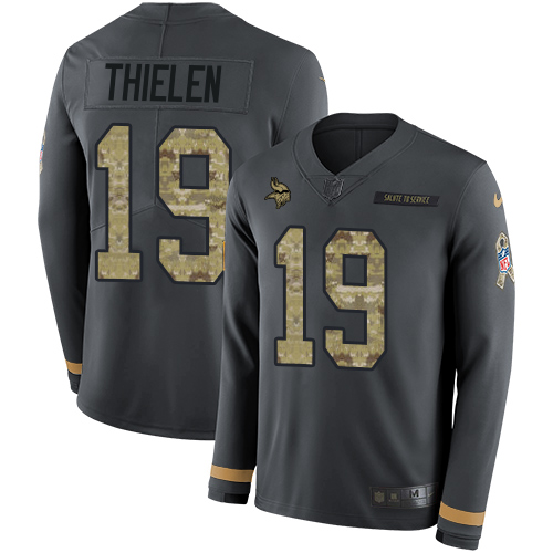 Nike Vikings #19 Adam Thielen Anthracite Salute to Service Men's Stitched NFL Limited Therma Long Sleeve Jersey