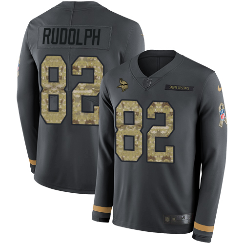 Nike Vikings #82 Kyle Rudolph Anthracite Salute to Service Men's Stitched NFL Limited Therma Long Sleeve Jersey