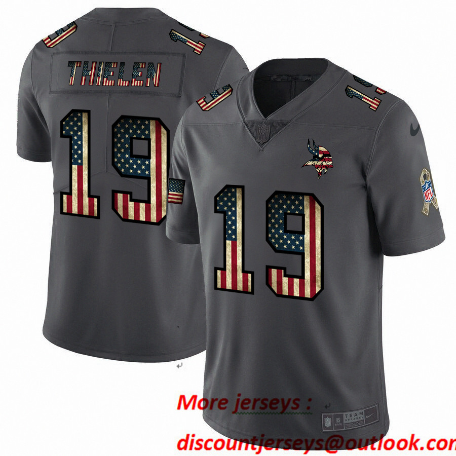 Nike Vikings 19 Adam Thielen 2019 Salute To Service USA Flag Fashion Limited Jersey