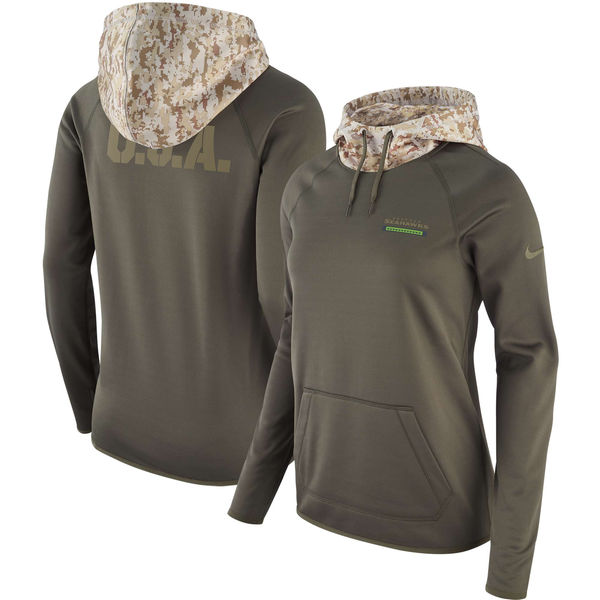 Nike Women's Seattle Seahawks Olive Salute To Service Sideline Therma Pullover Hoodie