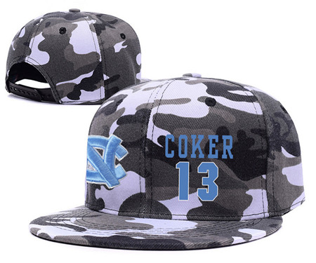 North Carolina Tar Heels 13 Kanler Coker Gray Camo College Basketball Adjustable Hat