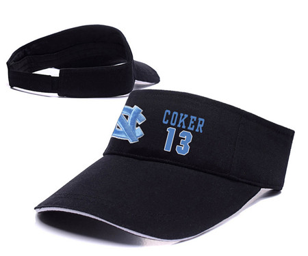 North Carolina Tar Heels 13 Kanler Coker White Black College Basketball Adjustable Visor