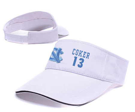 North Carolina Tar Heels 13 Kanler Coker White Camo College Basketball Adjustable Visor
