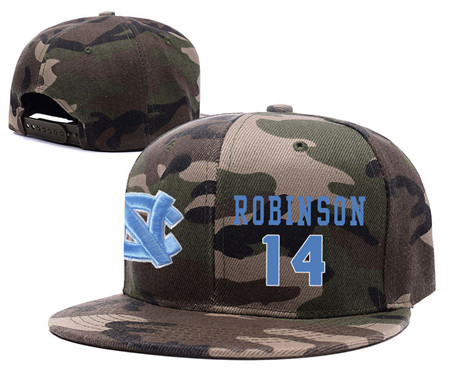 North Carolina Tar Heels 14 Brandon Robinson Camo College Basketball Adjustable Hat