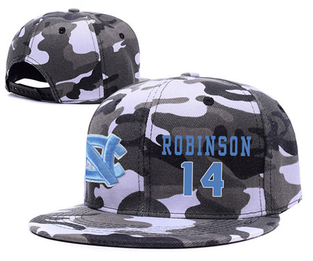 North Carolina Tar Heels 14 Brandon Robinson Gray Camo College Basketball Adjustable Hat