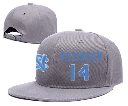 North Carolina Tar Heels 14 Brandon Robinson Gray College Basketball Adjustable Hat