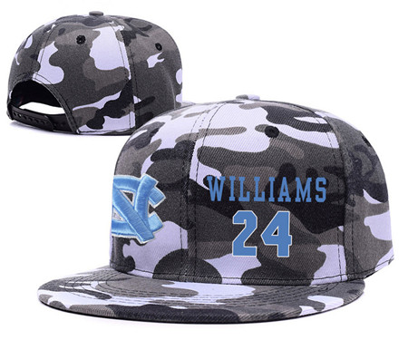 North Carolina Tar Heels 24 Kenny Williams Gray Camo College Basketball Adjustable Hat