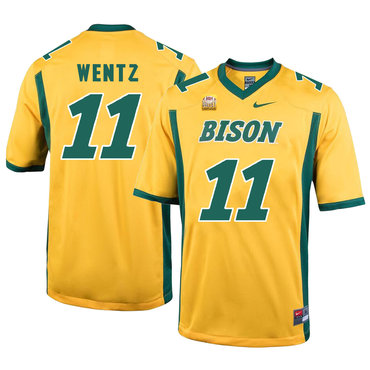 North Dakota State Bison 11 Carson Wentz Gold College Football Jersey