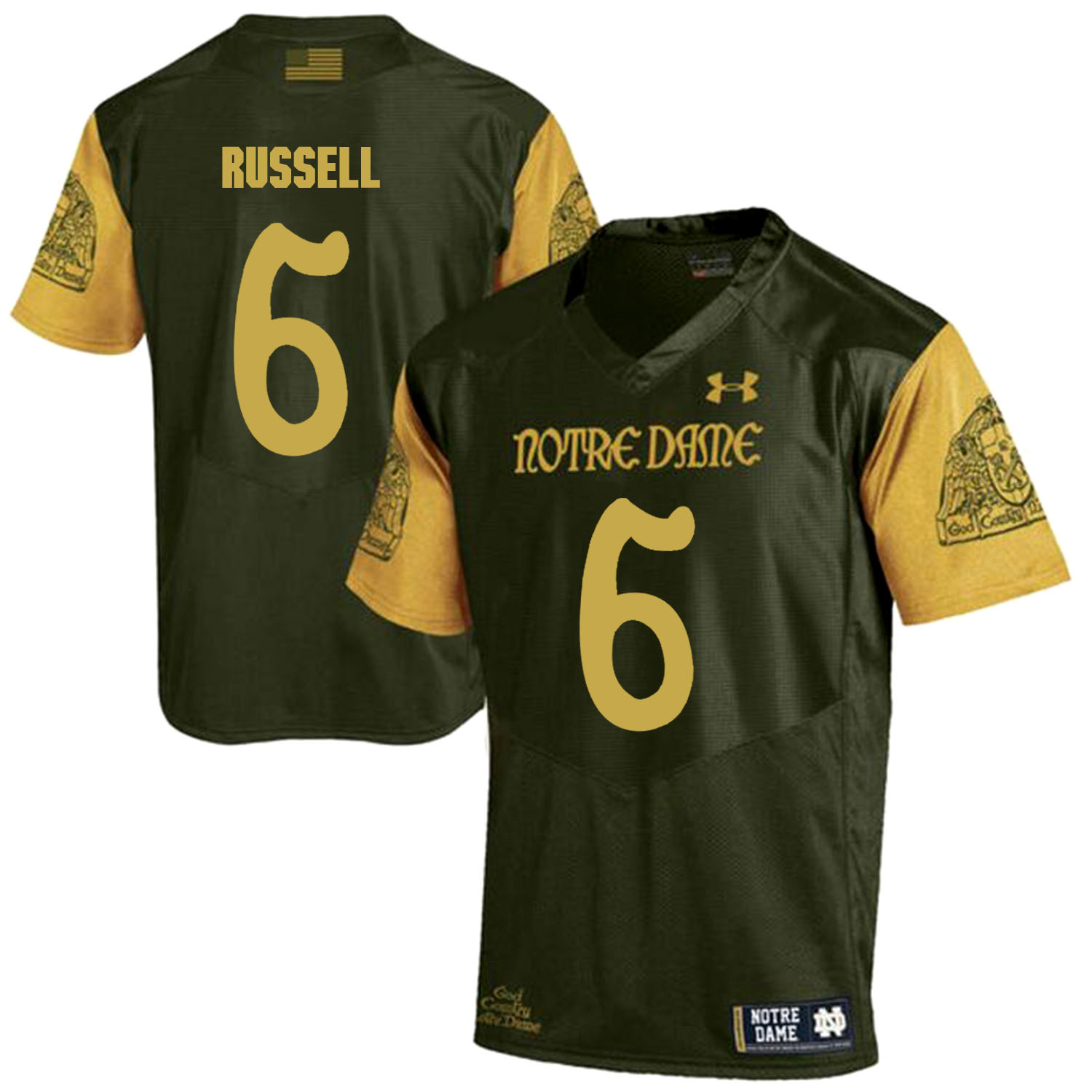 Notre Dame Fighting Irish 6 KeiVarae Russell Olive Green College Football Jersey