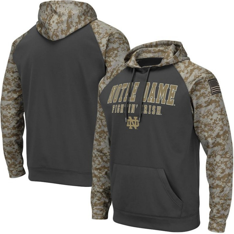 Notre Dame Fighting Irish Gray Camo Men's Pullover Hoodie
