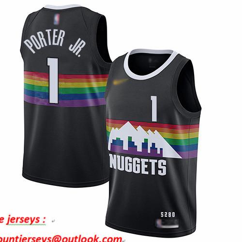 Nuggets #1 Michael Porter Jr. Black Basketball Swingman City Edition 2019 20 Jersey