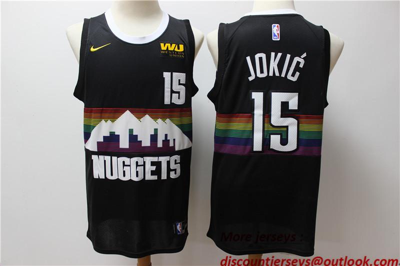 Nuggets 15 Nikola Jokic Black 2019-20 City Edition Nike Swingman Jersey