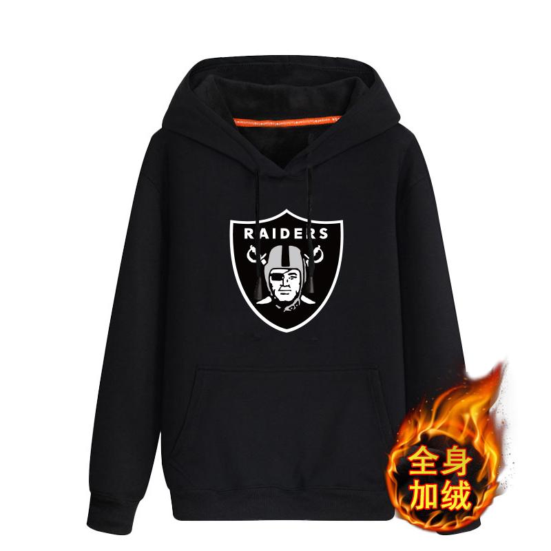 Oakland Raiders Black Men's Winter Thicken NFL Pullover Hoodie