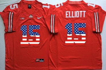 new styles df57e ba0ca Ohio State Buckeyes 15 Ezekiel Elliott Red USA Flag College ...