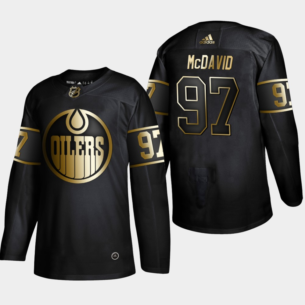Oilers 97 Connor McDavid Black Gold Adidas Jersey