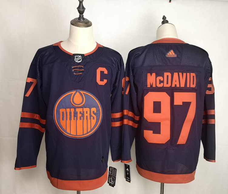 Oilers 97 Connor McDavid Navy 50th Anniversary Adidas Jersey