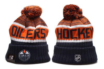 Oilers Team Logo Navy Orange Pom Knit Hat YP