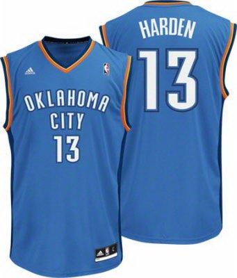 Oklahoma City Thunder #13 James Harden Revolution 30 Swingman Road Jersey
