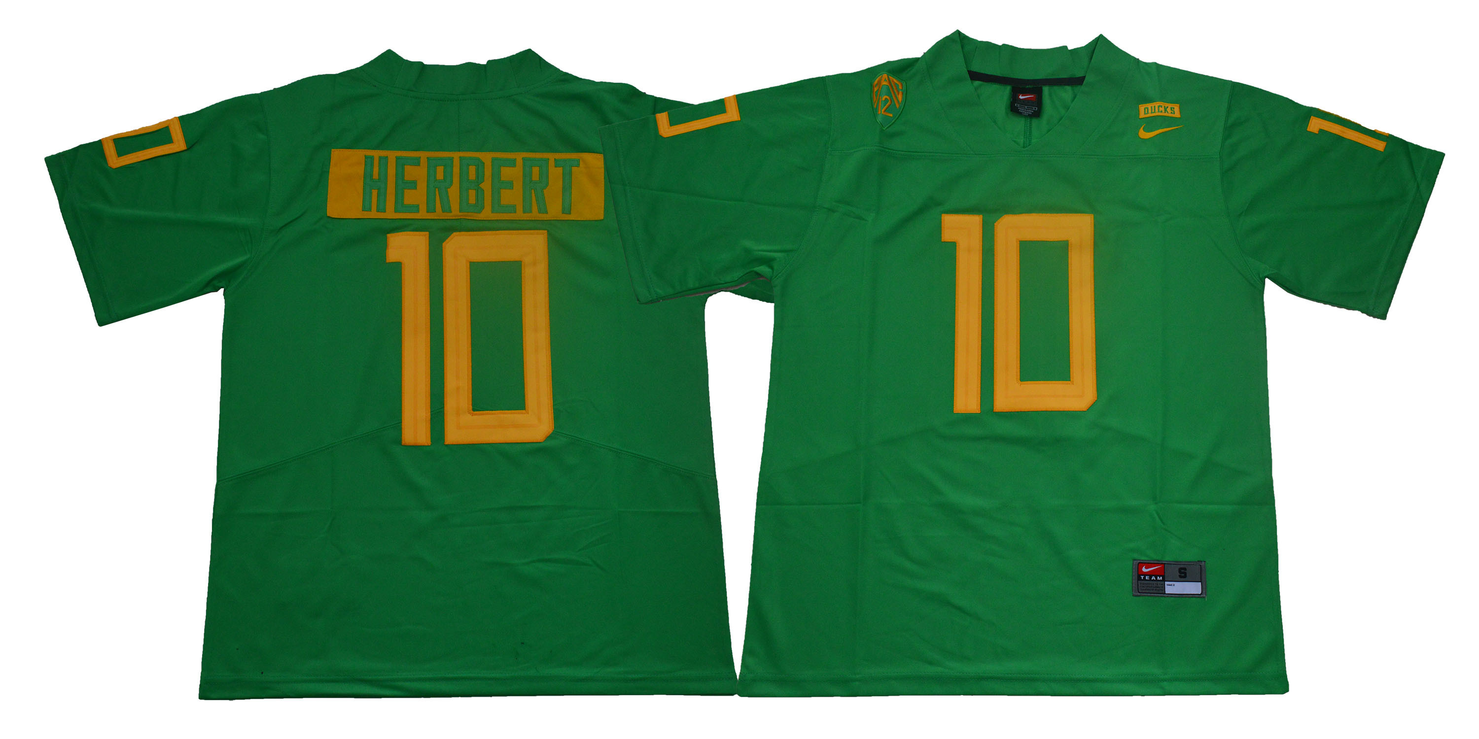 Oregon Ducks 10 Justin Herbert Green College Football Jersey
