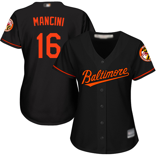 Orioles #16 Trey Mancini Black Women's Alternate Stitched Baseball Jersey