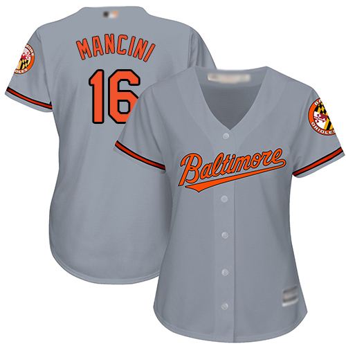 Orioles #16 Trey Mancini Grey Road Women's Stitched Baseball Jersey