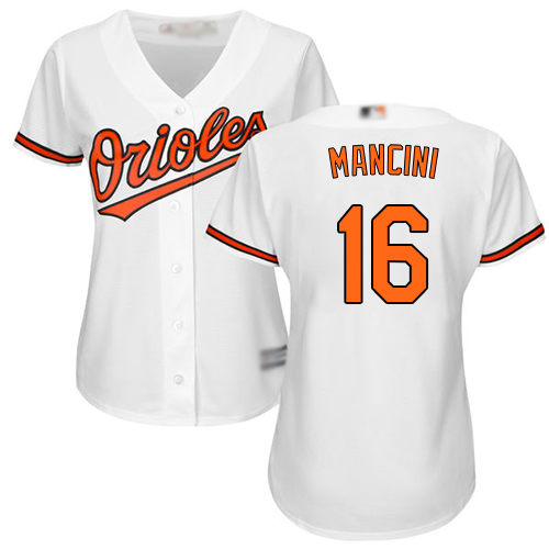 Orioles #16 Trey Mancini White Home Women's Stitched Baseball Jersey