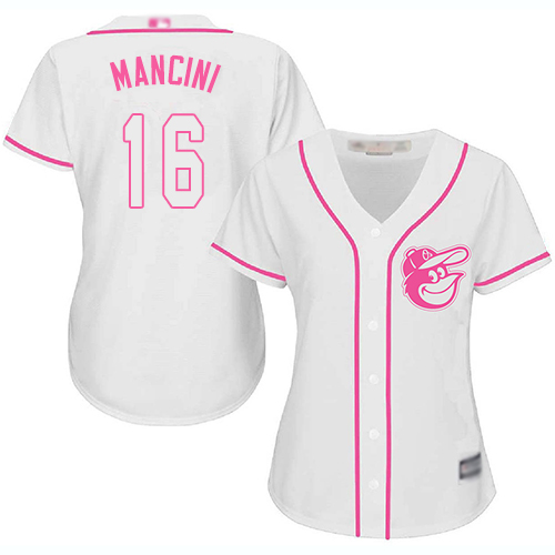 Orioles #16 Trey Mancini White Pink Fashion Women's Stitched Baseball Jersey