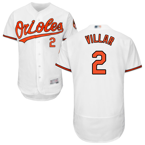 Orioles #2 Jonathan Villar White Flexbase Authentic Collection Stitched Baseball Jersey