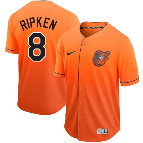 Orioles #8 Cal Ripken Orange Fade Authentic Stitched Baseball Jersey