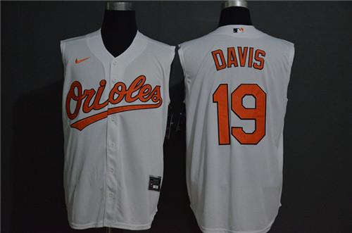 Orioles 19 Chris Davis White Nike Cool Base Sleeveless Jersey