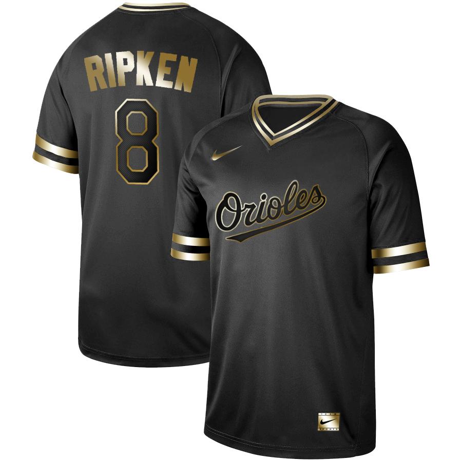 Orioles 8 Cal Ripken Jr Black Gold Nike Cooperstown Collection Legend V Neck Jersey