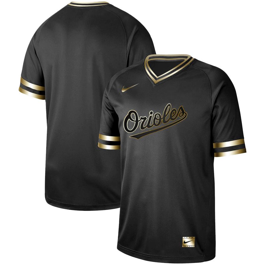 Orioles Blank Black Gold Nike Cooperstown Collection Legend V Neck Jersey
