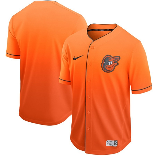 Orioles Blank Orange Fade Authentic Stitched Baseball Jersey