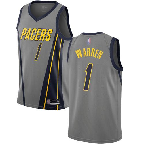 Pacers #1 T.J. Warren Gray Basketball Swingman City Edition 2018 19 Jersey