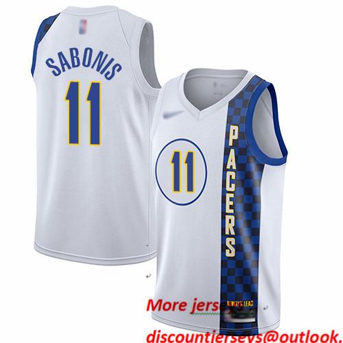Pacers #11 Domantas Sabonis White Basketball Swingman City Edition 2019 20 Jersey