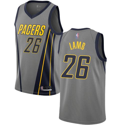 Pacers #26 Jeremy Lamb Gray Basketball Swingman City Edition 2018 19 Jersey