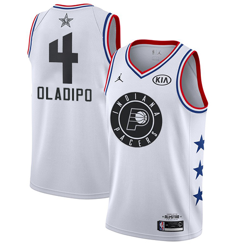 Pacers #4 Victor Oladipo White Basketball Jordan Swingman 2019 All-Star Game Jersey