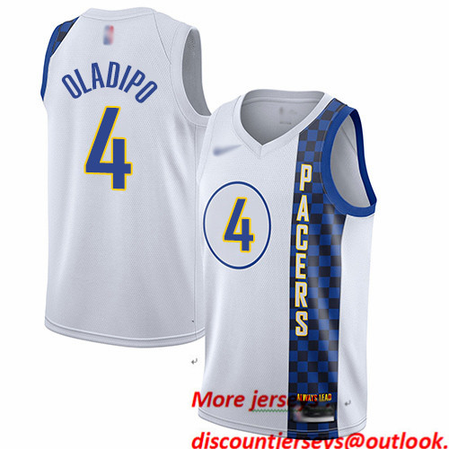Pacers #4 Victor Oladipo White Basketball Swingman City Edition 2019 20 Jersey