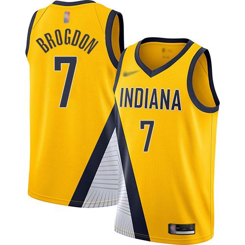 Pacers #7 Malcolm Brogdon Gold Basketball Swingman Statement Edition 2019 2020 Jersey