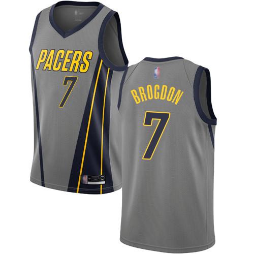 Pacers #7 Malcolm Brogdon Gray Basketball Swingman City Edition 2018 19 Jersey