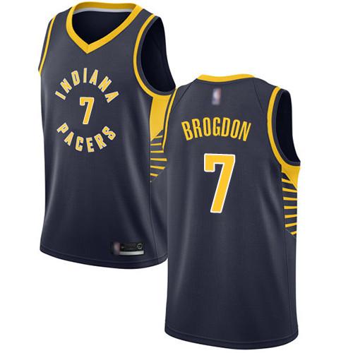 Pacers #7 Malcolm Brogdon Navy Blue Basketball Swingman Icon Edition Jersey