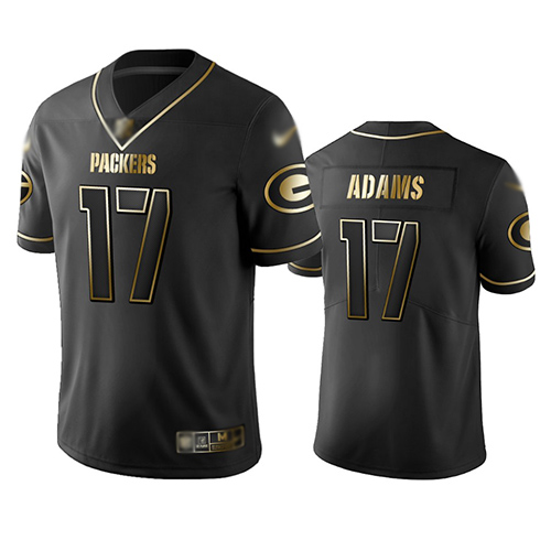 Packers #17 Davante Adams Black Men's Stitched Football Limited Golden Edition Jersey