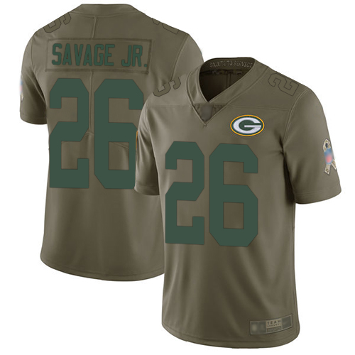 Packers #26 Darnell Savage Jr. Olive Men's Stitched Football Limited 2017 Salute To Service Jersey