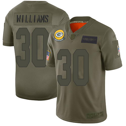 Packers #30 Jamaal Williams Camo Men's Stitched Football Limited 2019 Salute To Service Jersey