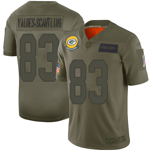 Packers #83 Marquez Valdes-Scantling Camo Men's Stitched Football Limited 2019 Salute To Service Jersey