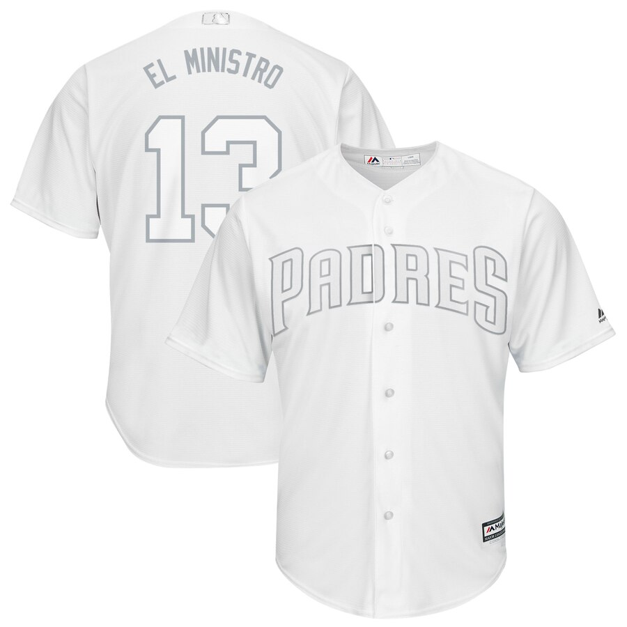Padres 13 Manny Machado El Ministro White 2019 Players' Weekend Player Jersey