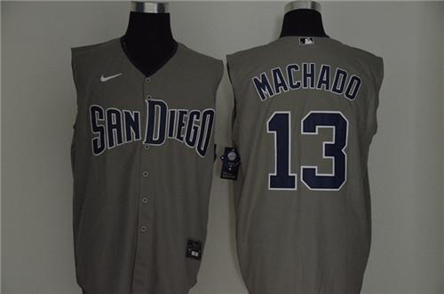 Padres 13 Manny Machado Gray Nike Cool Base Sleeveless Jersey